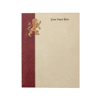 Lion Medieval Gold Red Fleur de Lis Notepad