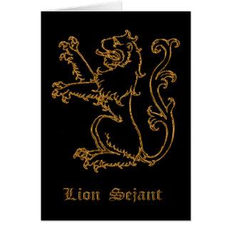 Lion medieval heraldry card