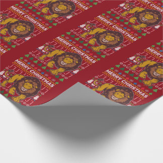 Lion Merry Christmas Ugly Sweater Style Wrapping Paper
