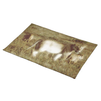 LION MOTHER AND CUBS CLOTH PLACE MAT