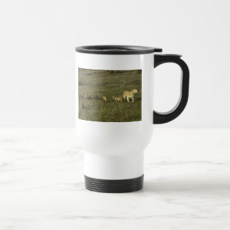 LION MOTHER AND CUBS 15 OZ STAINLESS STEEL TRAVEL MUG