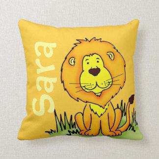 Lion name and birth newborn gift yellow pillow