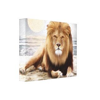 Lion Ocean Photo Paint Canvas Print