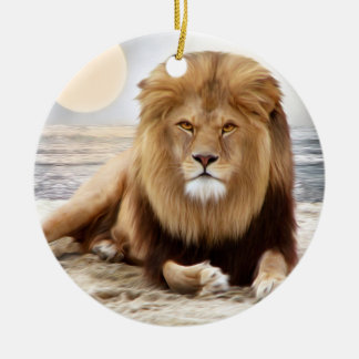 Lion Ocean Photo Paint Double-Sided Ceramic Round Christmas Ornament