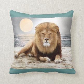 Lion Ocean Photo Paint Throw Pillow