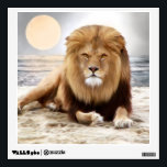 """Lion Ocean Photo Paint Wall Decal<br><div class=""""desc"""">Beautiful lion photography painting. Lion laying on the sand at the ocean.</div>"""