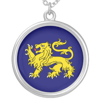 Lion of England Silver Heraldry Necklace (Navy)