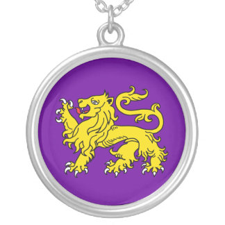 Lion of England Silver Heraldry Necklace (Purple)