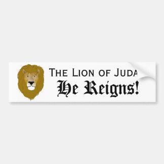 Lion of Judah, He Reigns! BUMPER STICKER Car Bumper Sticker