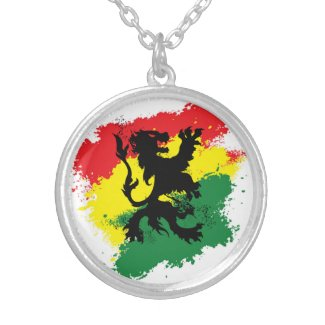 Lion of Judah Necklace: Red yellow and green Lion
