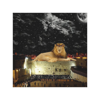 Lion Of Judah On The Western Wall Canvas Print