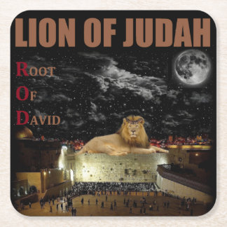 Lion Of Judah On The Western Wall Square Paper Coaster