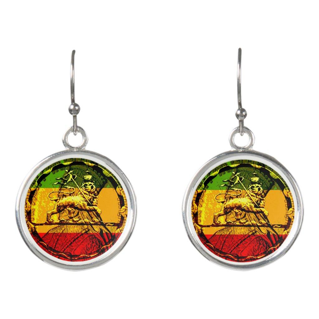 Lion of Judah Rasta Drop Earrings