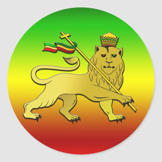 Lion of judah rasta reggae lion classic round sticker