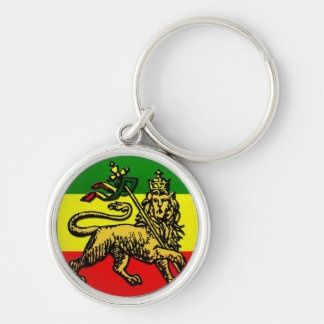 Lion of Judah Silver-Colored Round Keychain