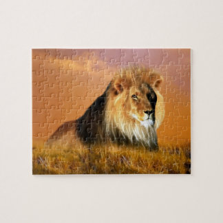 Lion of South Africa fractal art Jigsaw Puzzle