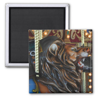 Lion on a Carousel 2 Inch Square Magnet