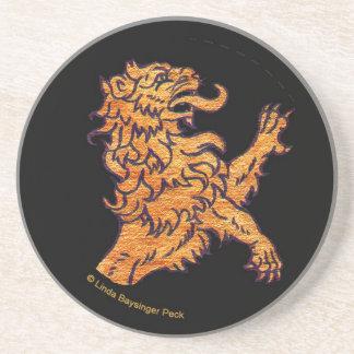 Lion on Black Drink Coasters