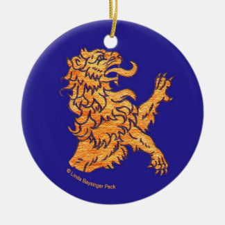 Lion on Blue Double-Sided Ceramic Round Christmas Ornament