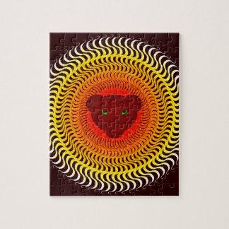 Lion on burgundy jigsaw puzzle