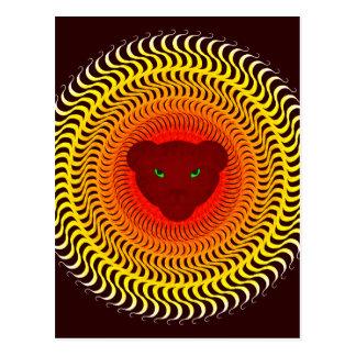 Lion on burgundy postcard