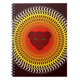Lion on burgundy spiral notebook