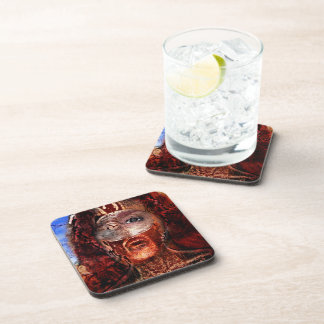 lion on fire drink coaster