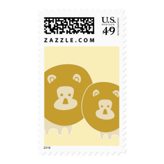 Lion on plain yellow background. postage stamps
