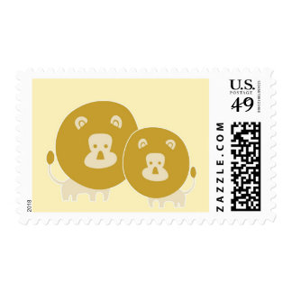 Lion on plain yellow background. postage stamp
