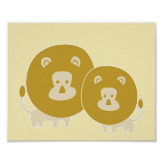Lion on plain yellow background. posters
