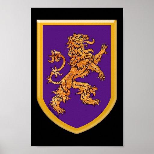 Lion on Purple Poster
