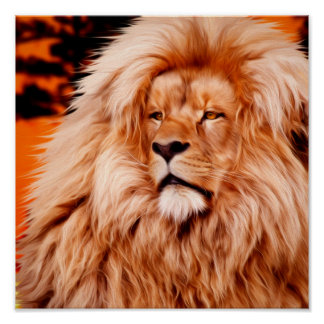 Lion Orange African Sky Photo Paint Poster