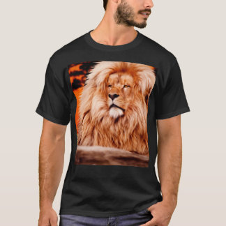 Lion Orange African Sky Photo Paint T-Shirt
