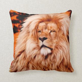 Lion Orange African Sky Photo Paint Throw Pillow
