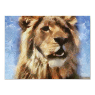 Lion painting personalized invitations