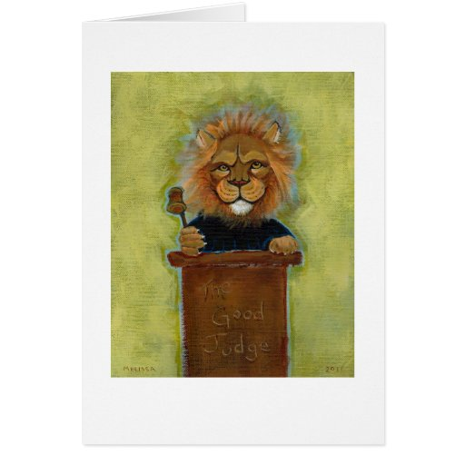 Lion painting original art judge legal law lawyers greeting card