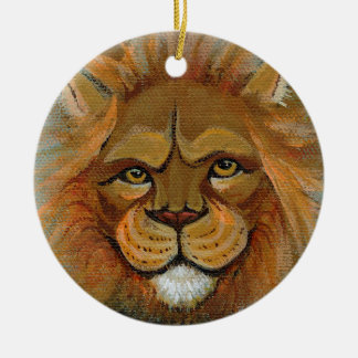 Lion painting original art judge legal law lawyers christmas tree ornament