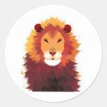 Lion Painting Round Sticker