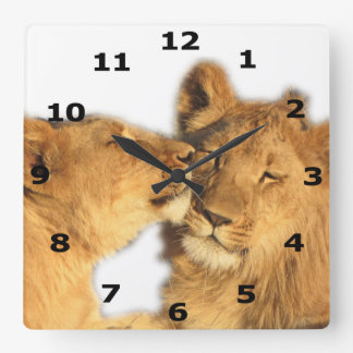 Lion Pair Wall Clock (with black numeric dial)