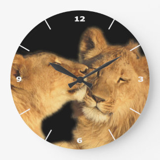 Lion Pair Wall Clock (with white dial)