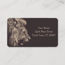 lion pencil art lion roar black and white business card