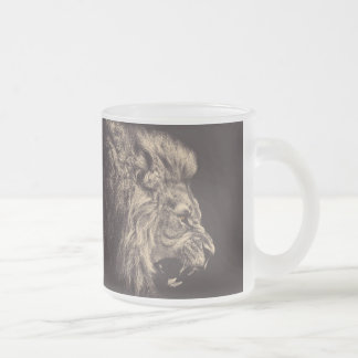 lion pencil art lion roar black and white frosted glass coffee mug