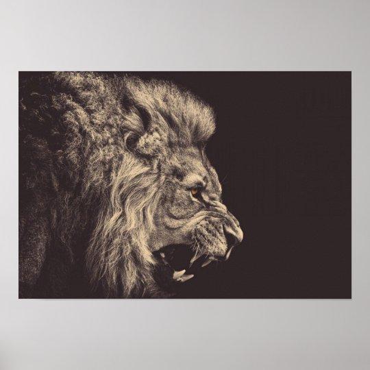 Lion Pencil Art Lion Roar Black And White Poster