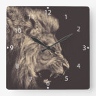 lion pencil art lion roar black and white square wall clock