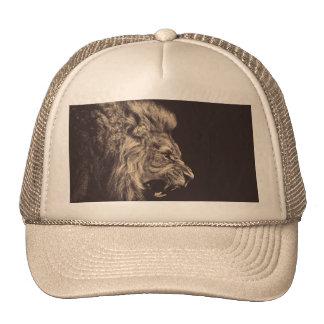 lion pencil art lion roar black and white trucker hat