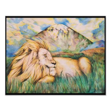 Beach Themed Lion Photo Print