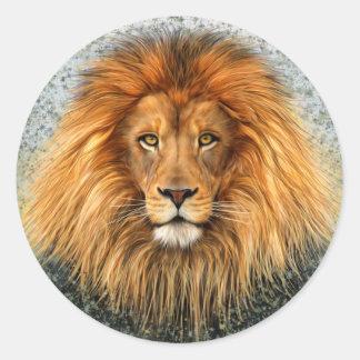 Lion Photograph Paint Art image Classic Round Sticker