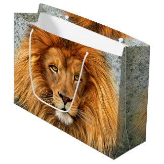 Lion Photograph Paint Art image Large Gift Bag