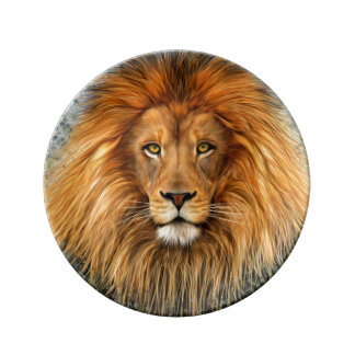 Lion Photograph Paint Art image Porcelain Plates