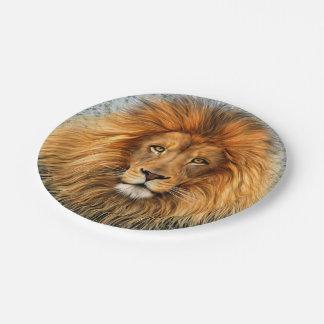 Lion Photograph Paint Art image Paper Plate